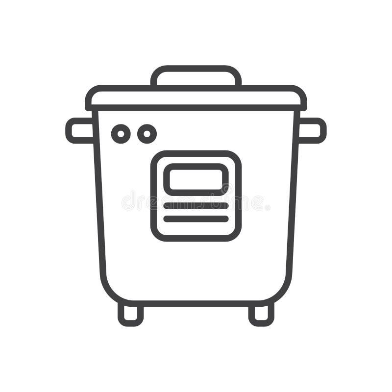 Linea icona, segno di vettore del profilo, pittogramma lineare del fornello di riso di stile isolato su bianco illustrazione vettoriale