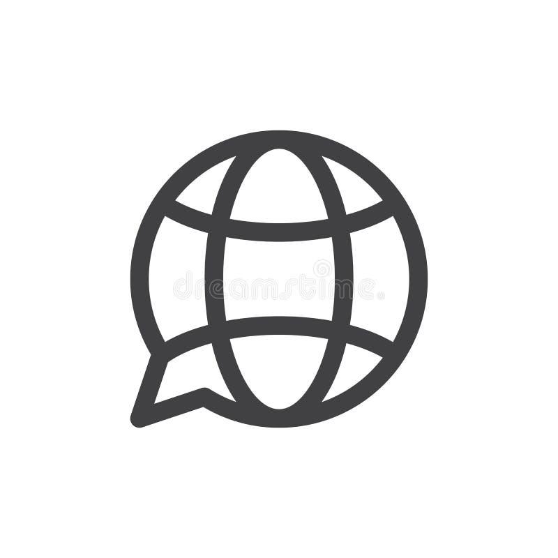 Linea icona, segno di vettore del profilo, pittogramma lineare del globo di traduzione di stile isolato su bianco royalty illustrazione gratis