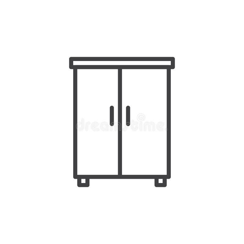 Linea icona, segno di vettore del profilo, pittogramma lineare del guardaroba di stile isolato su bianco illustrazione vettoriale
