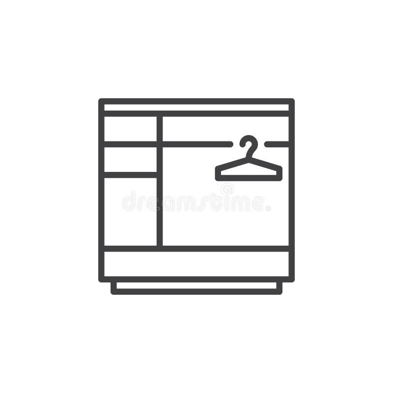 Linea icona, segno di vettore del profilo, pittogramma lineare del guardaroba isolato su bianco illustrazione di stock