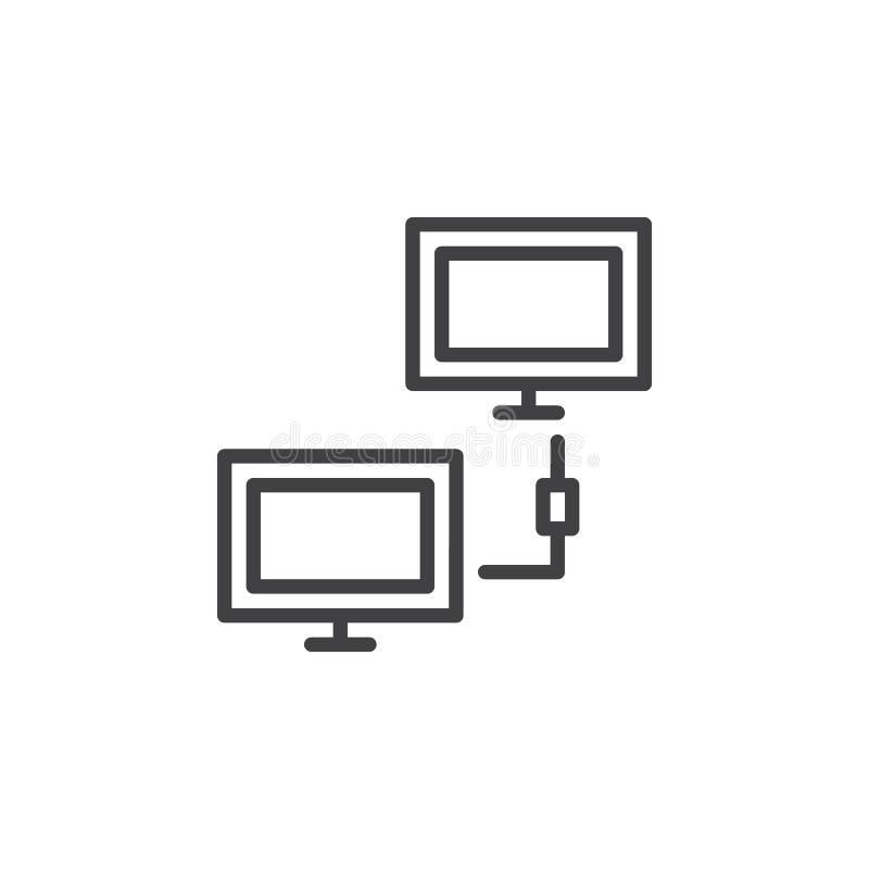 Linea icona, segno di vettore del profilo, pittogramma lineare della connessione di rete del cliente di stile isolato su bianco royalty illustrazione gratis
