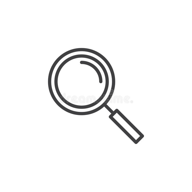 Linea icona, segno di vettore del profilo, pittogramma lineare della lente d'ingrandimento di stile isolato su bianco royalty illustrazione gratis