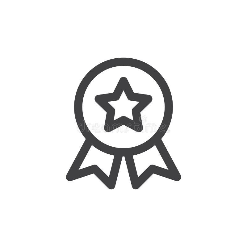 Linea icona, segno di vettore del profilo, pittogramma lineare della medaglia di qualità di stile isolato su bianco illustrazione di stock