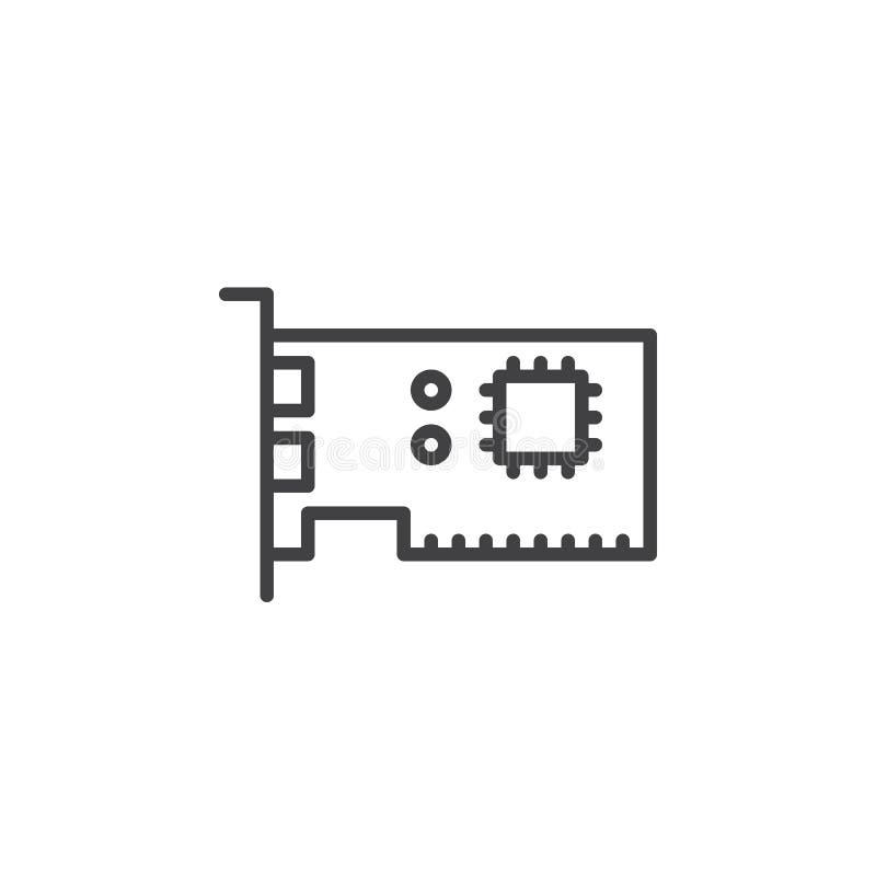 Linea icona, segno di vettore del profilo, pittogramma lineare della scheda di espansione isolato su bianco illustrazione vettoriale