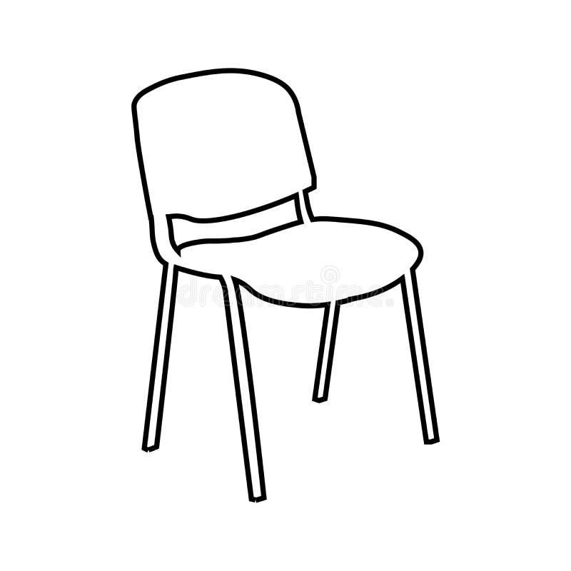 Linea icona, segno di vettore del profilo, pittogramma lineare della sedia dell'ufficio di stile isolato su bianco Simbolo, illus illustrazione vettoriale