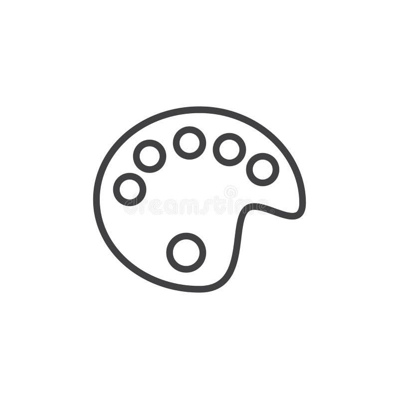 Linea icona, segno di vettore del profilo, pittogramma lineare della tavolozza di colore del disegno di stile isolato su bianco illustrazione di stock