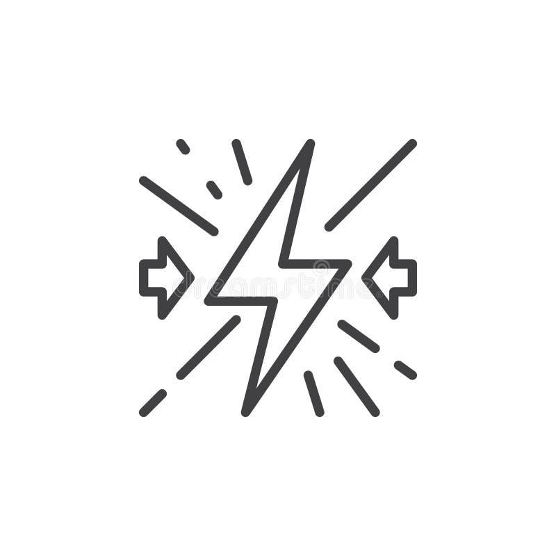 Linea icona, segno di vettore del profilo, pittogramma lineare di conflitto di stile isolato su bianco royalty illustrazione gratis