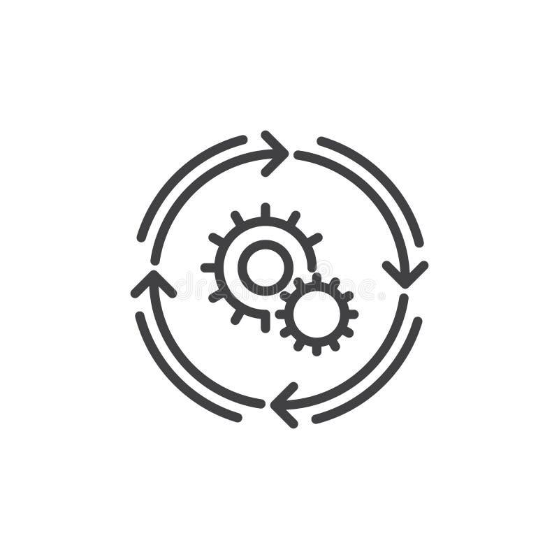 Linea icona, segno di vettore del profilo, pittogramma lineare di flusso di lavoro di stile isolato su bianco royalty illustrazione gratis