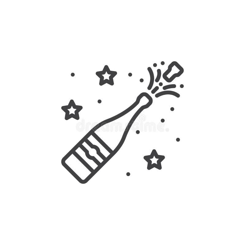 Linea icona, segno di vettore del profilo, pittogramma lineare i di schiocco di Champagne illustrazione vettoriale