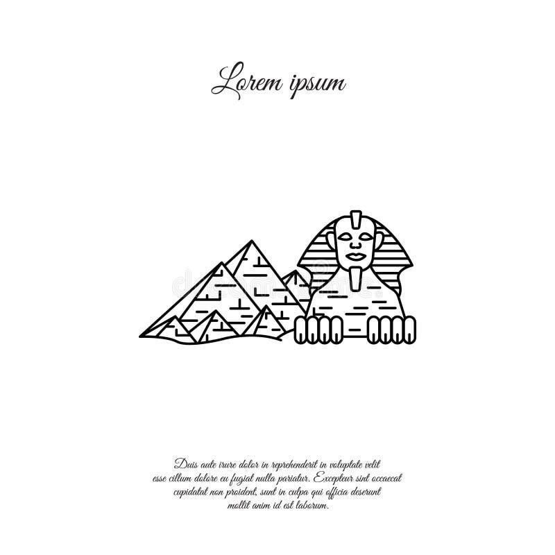 Linea icona, segno di vettore egiziano della Sfinge e delle piramidi illustrazione vettoriale