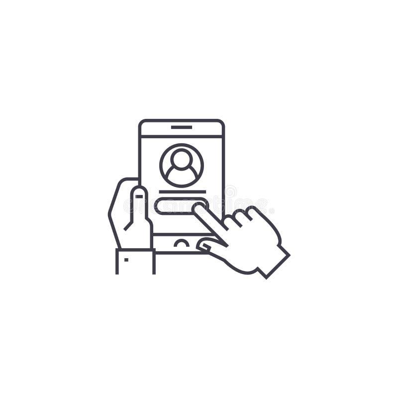 Linea icona, segno, illustrazione di vettore di autorizzazione dell'utente su fondo, colpi editabili illustrazione di stock