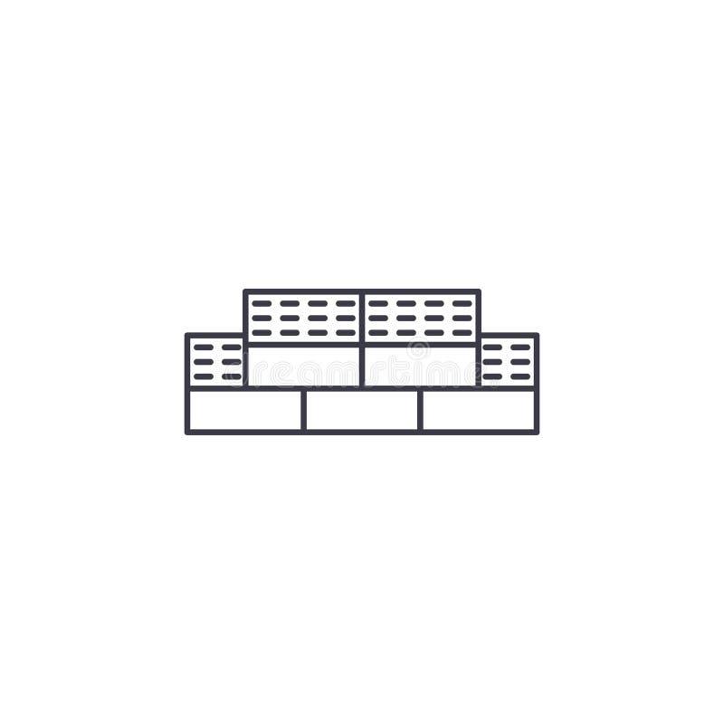 Linea icona, segno, illustrazione di vettore dei mattoni su fondo, colpi editabili royalty illustrazione gratis