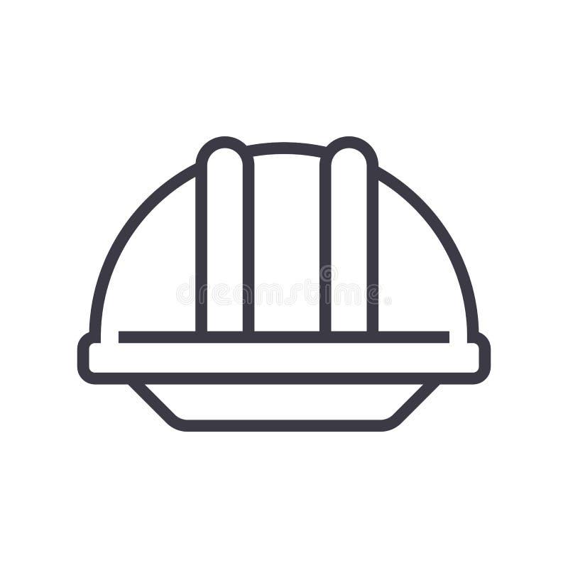 Linea icona, segno, illustrazione di vettore del casco della costruzione su fondo, colpi editabili illustrazione vettoriale