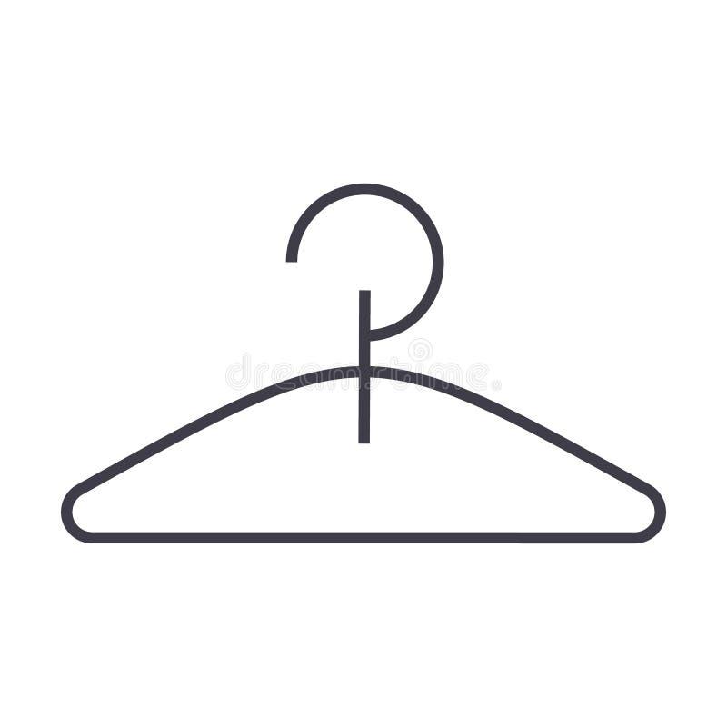 Linea icona, segno, illustrazione di vettore del gancio su fondo, colpi editabili royalty illustrazione gratis