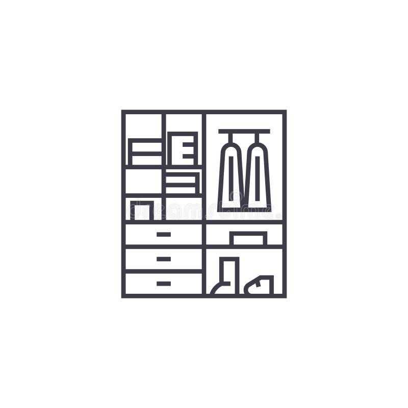 Linea icona, segno, illustrazione di vettore del guardaroba su fondo, colpi editabili illustrazione vettoriale
