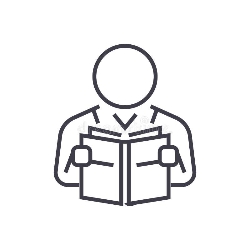 Linea icona, segno, illustrazione di vettore del libro di lettura dell'utente su fondo, colpi editabili illustrazione vettoriale
