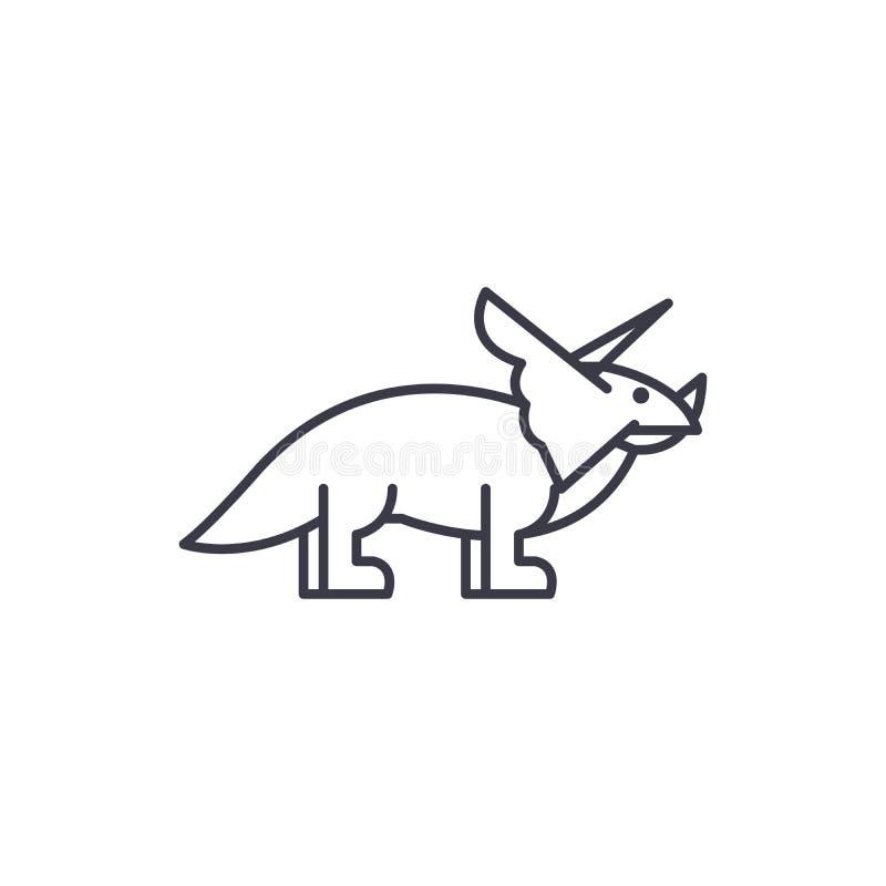 Linea icona, segno, illustrazione di vettore del triceratopo su fondo, colpi editabili illustrazione di stock