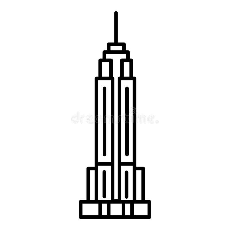 Linea icona, segno, illustrazione di vettore dell'Empire State Building su fondo, colpi editabili royalty illustrazione gratis