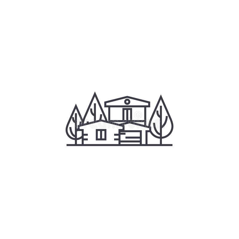 Linea icona, segno, illustrazione di vettore della casa di campagna su fondo, colpi editabili illustrazione vettoriale