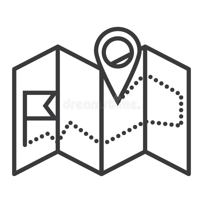 Linea icona, segno, illustrazione di vettore della mappa di navigazione su fondo, colpi editabili royalty illustrazione gratis