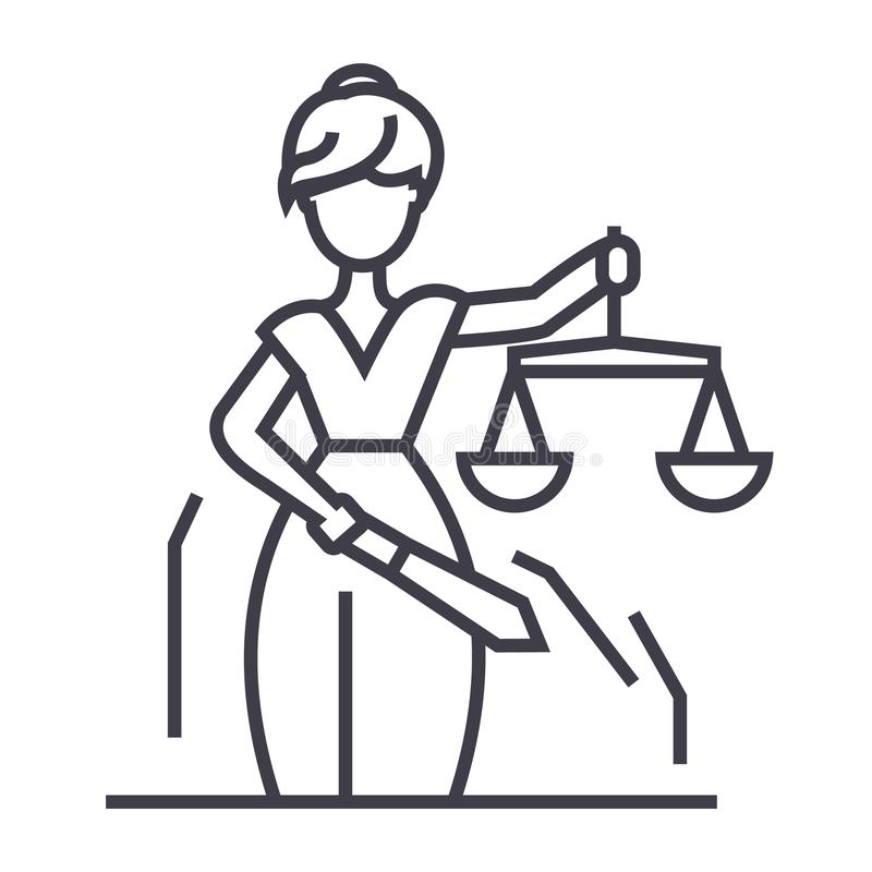Linea icona, segno, illustrazione di vettore della statua della giustizia su fondo, colpi editabili royalty illustrazione gratis