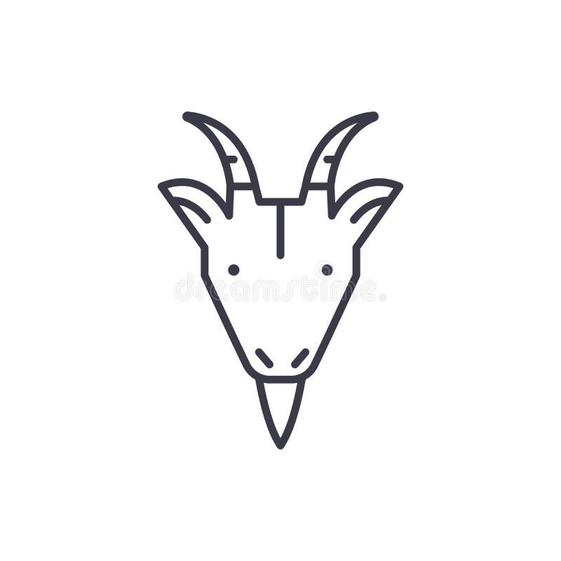 Linea icona, segno, illustrazione di vettore della testa della capra dell'azienda agricola su fondo, colpi editabili illustrazione di stock