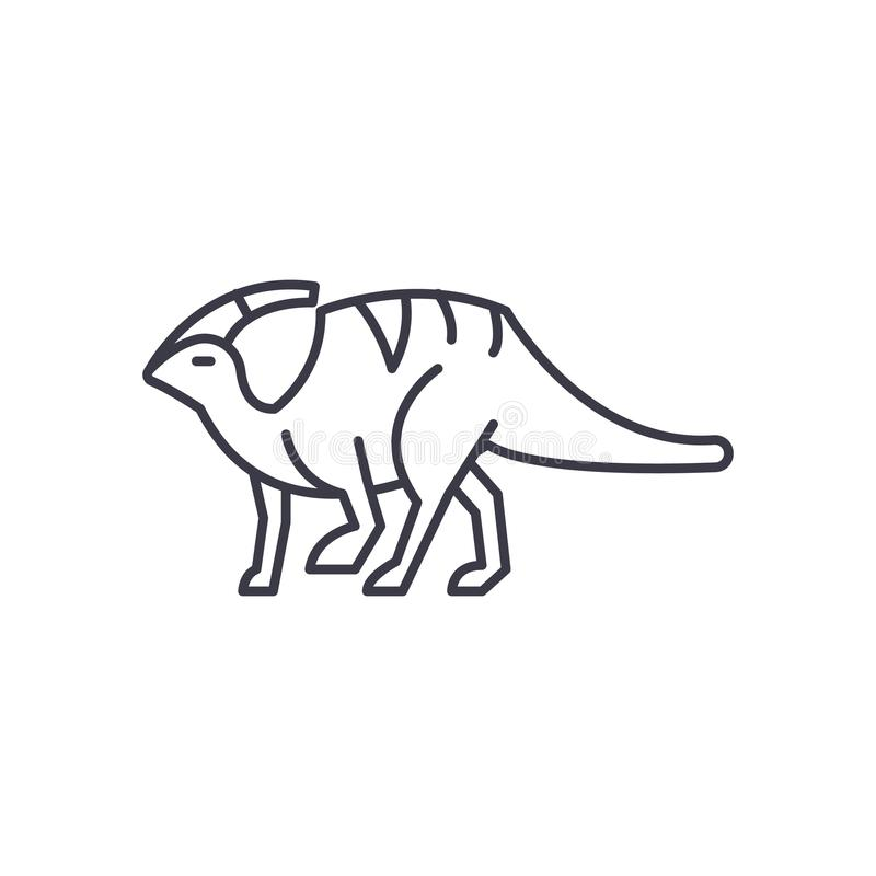 Linea icona, segno, illustrazione di vettore di Parasaurolophus su fondo, colpi editabili royalty illustrazione gratis