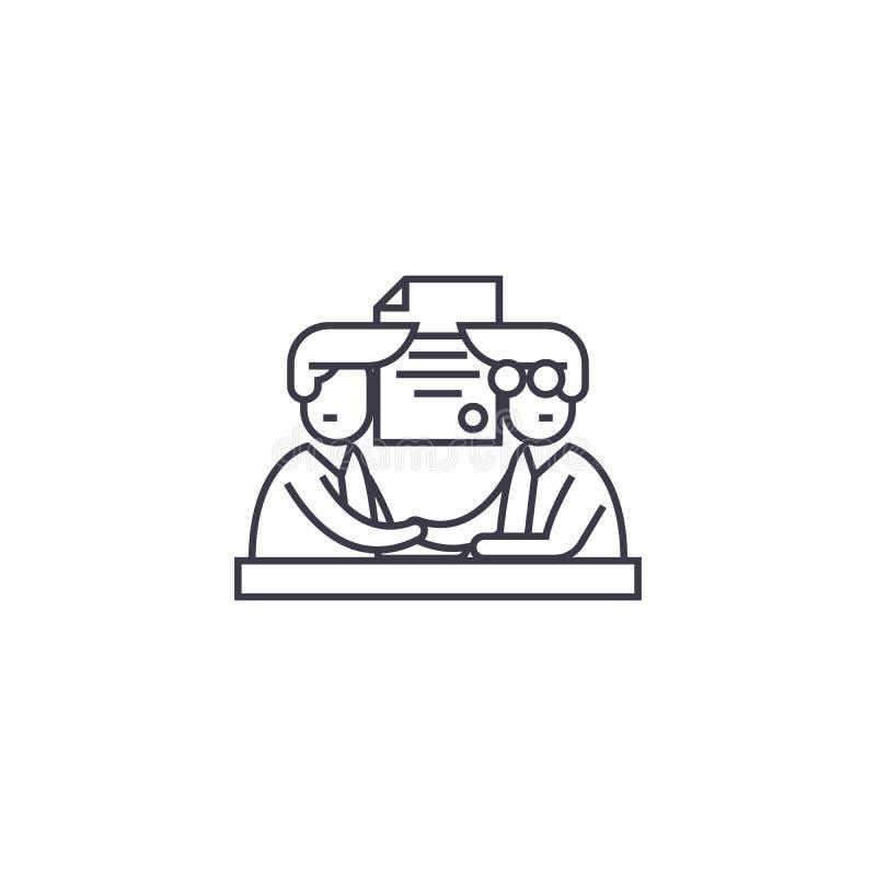 Linea icona, segno, illustrazione di vettore di partecipazione su fondo, colpi editabili illustrazione di stock