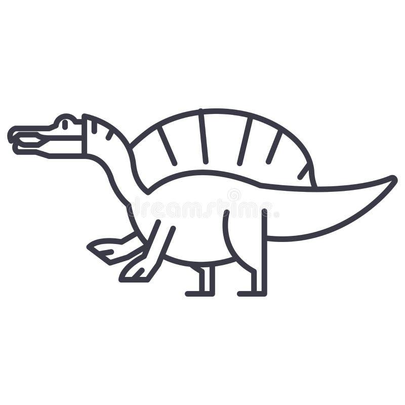 Linea icona, segno, illustrazione di vettore di Spinosaurus su fondo, colpi editabili illustrazione di stock