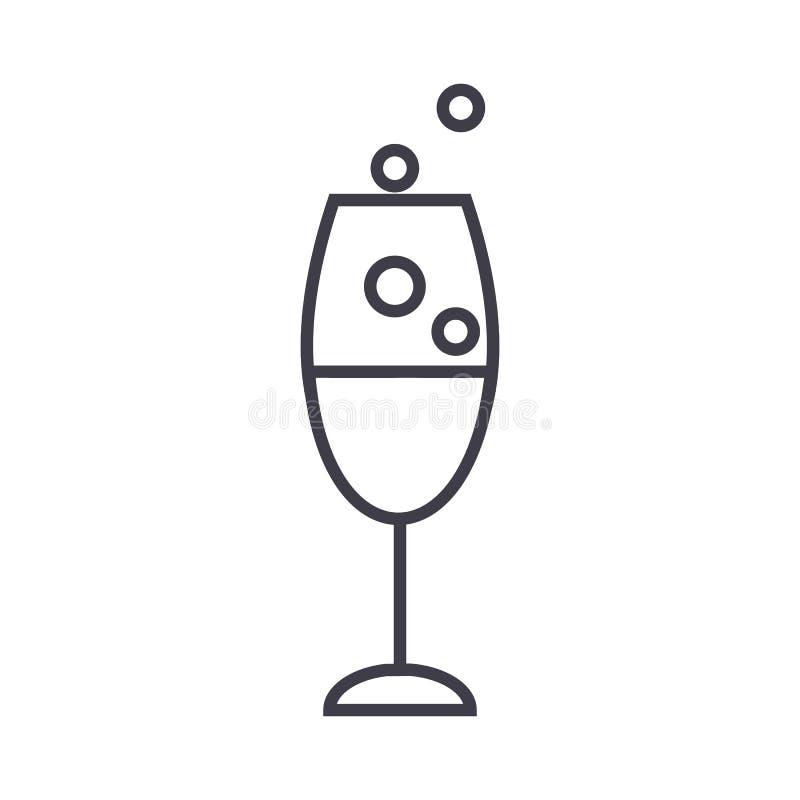 Linea icona, segno, illustrazione di vettore di vetro di vino su fondo, colpi editabili royalty illustrazione gratis