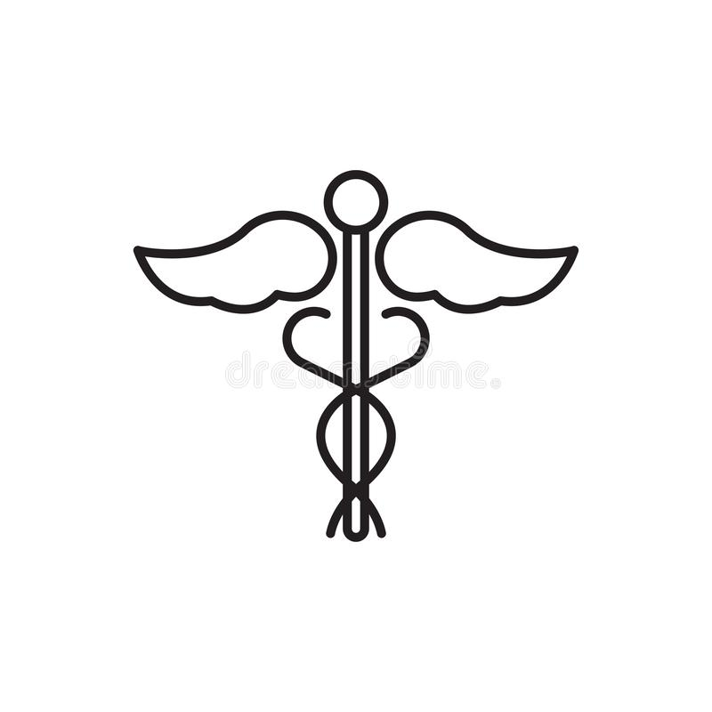Linea icona, segno medico di vettore o logo del caduceo royalty illustrazione gratis
