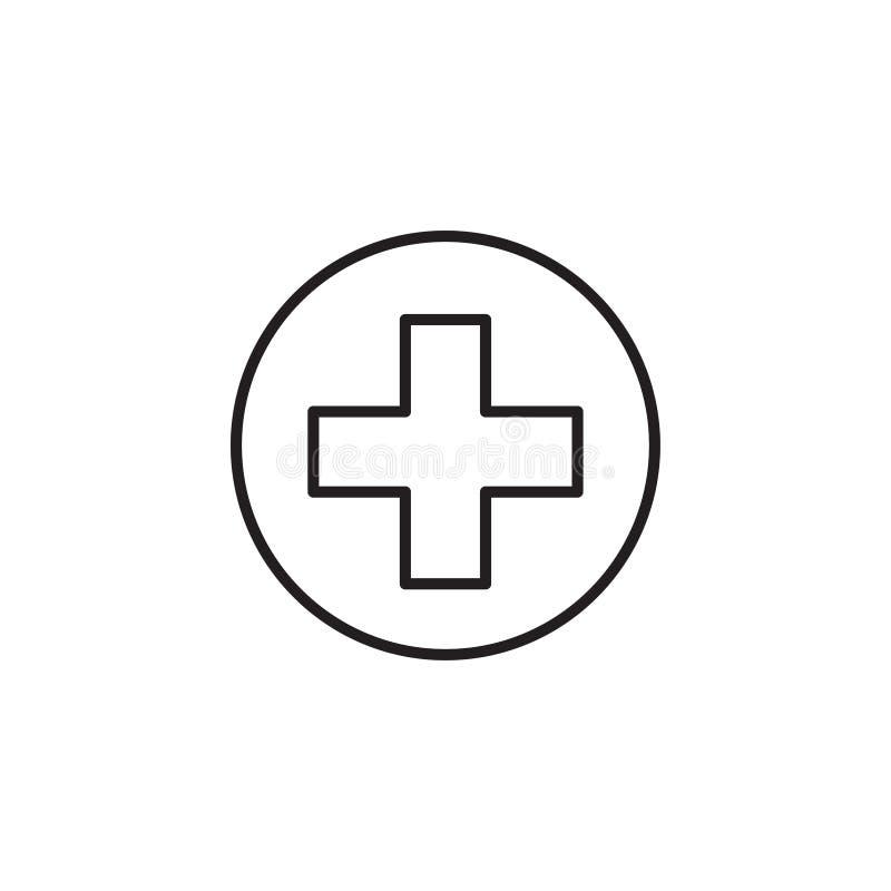 Linea icona, segno medico di vettore o logo della croce rossa illustrazione vettoriale
