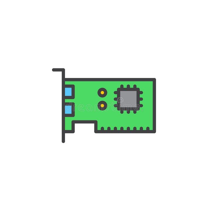 Linea icona, segno riempito di vettore del profilo, pittogramma variopinto lineare della scheda di espansione isolato su bianco illustrazione di stock