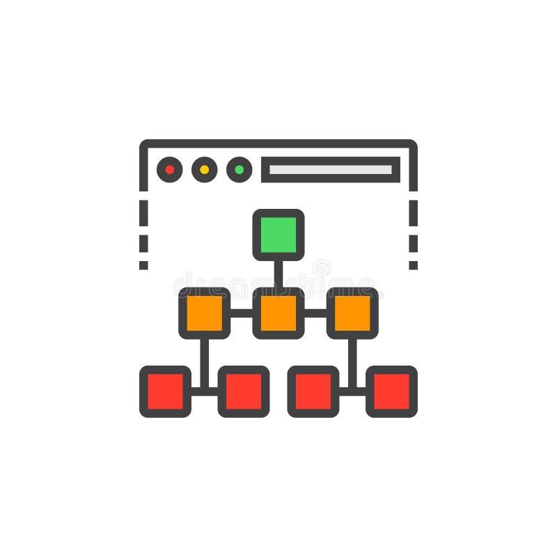 Linea icona, segno riempito di vettore del profilo, variopinto lineare della mappa del sito illustrazione di stock