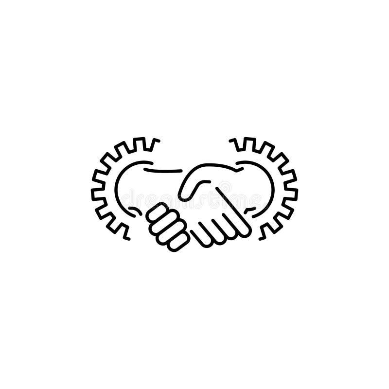 Linea icona, segno, simbolo di vettore degli ingranaggi e della stretta di mano operazione illustrazione di stock