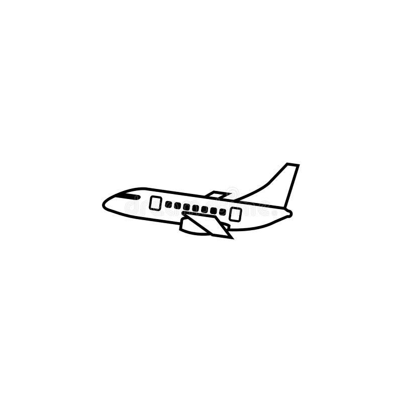 Linea icona, turismo di viaggio, trasporto dell'aeroplano illustrazione vettoriale