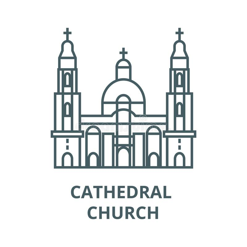 Linea icona, vettore della chiesa della cattedrale Segno del profilo della chiesa della cattedrale, simbolo di concetto, illustra illustrazione vettoriale