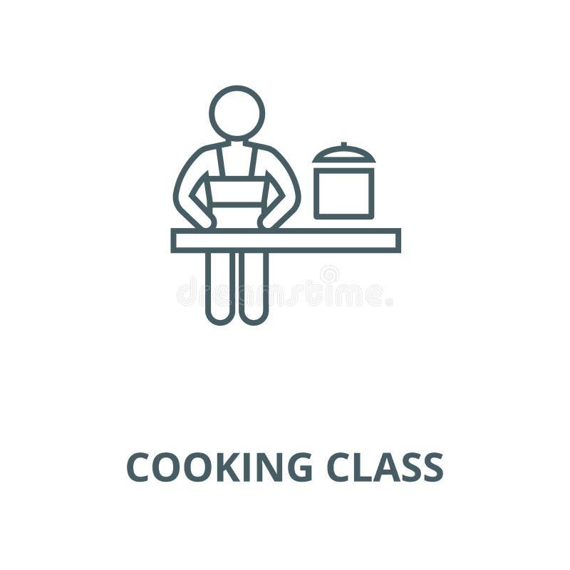 Linea icona, vettore della classe di cottura Segno del profilo della classe di cottura, simbolo di concetto, illustrazione piana illustrazione di stock