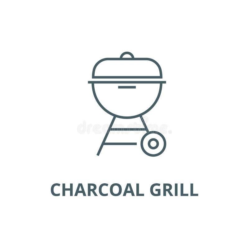 Linea icona, vettore della griglia del carbone Segno del profilo della griglia del carbone, simbolo di concetto, illustrazione pi illustrazione di stock