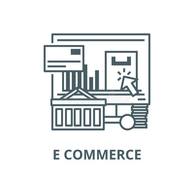 Linea icona, vettore di commercio elettronico Segno del profilo di commercio elettronico, simbolo di concetto, illustrazione pian illustrazione vettoriale