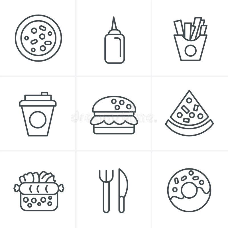 Linea icone degli alimenti a rapida preparazione di stile delle icone illustrazione di stock