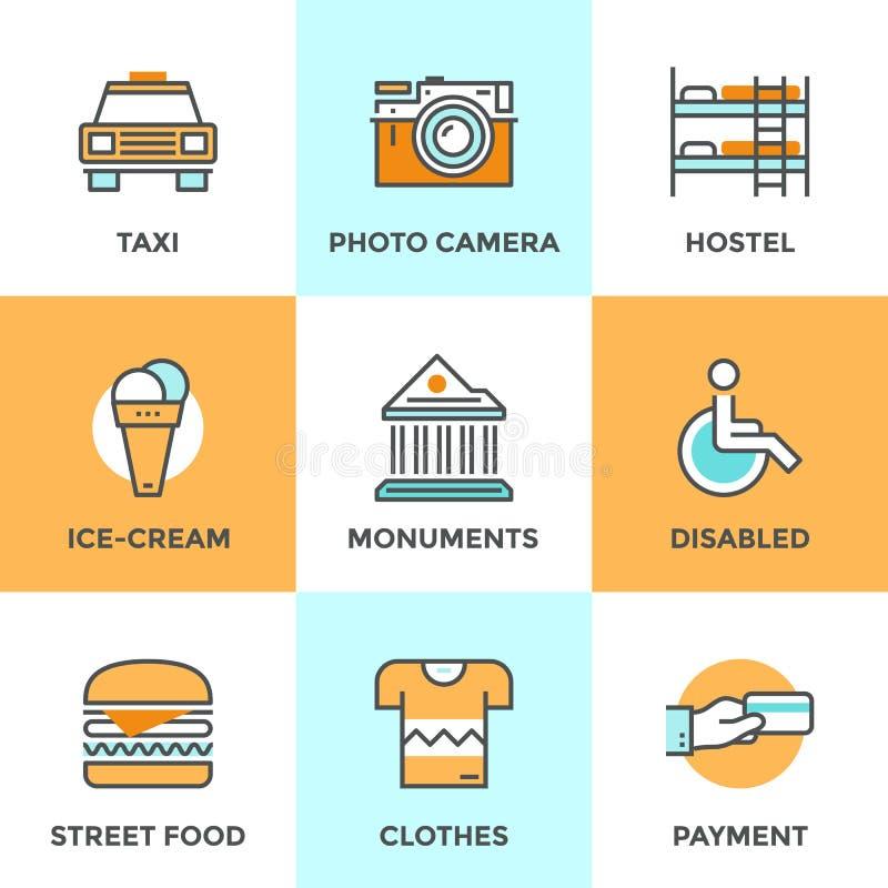 Linea icone degli elementi di viaggio della città messe illustrazione vettoriale