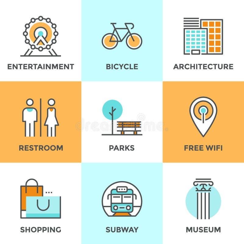 Linea icone degli oggetti del pubblico della città messe illustrazione vettoriale