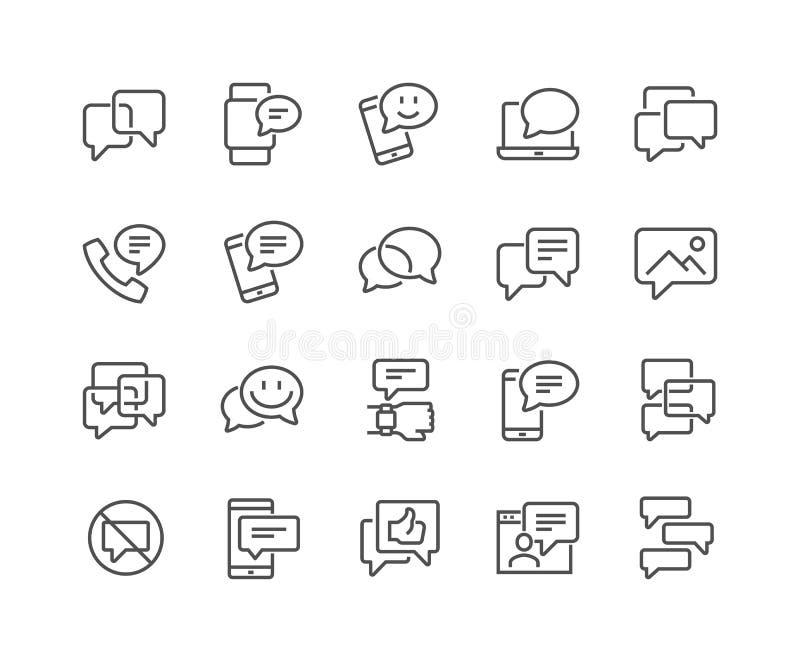 Linea icone dei messaggi illustrazione di stock
