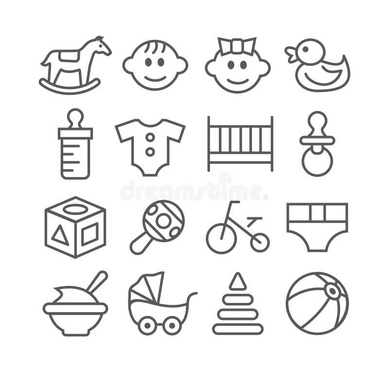 Linea icone del bambino royalty illustrazione gratis