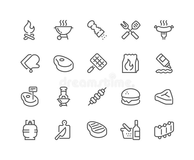 Linea icone del barbecue illustrazione di stock