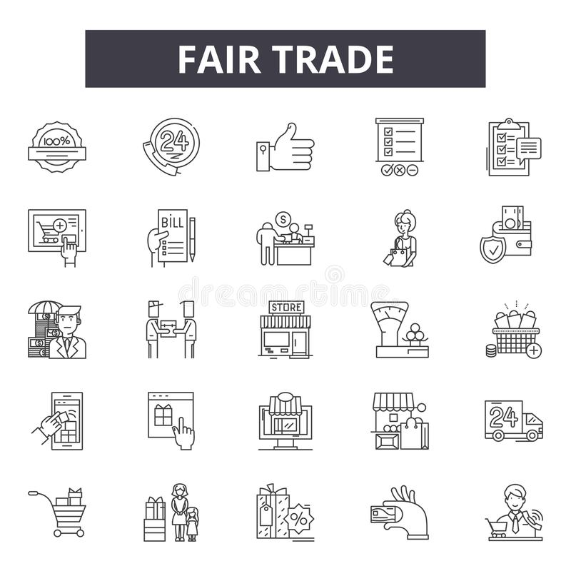 Linea icone del commercio equo e solidale per il web e la progettazione mobile Segni editabili del colpo Illustrazioni di concett illustrazione di stock