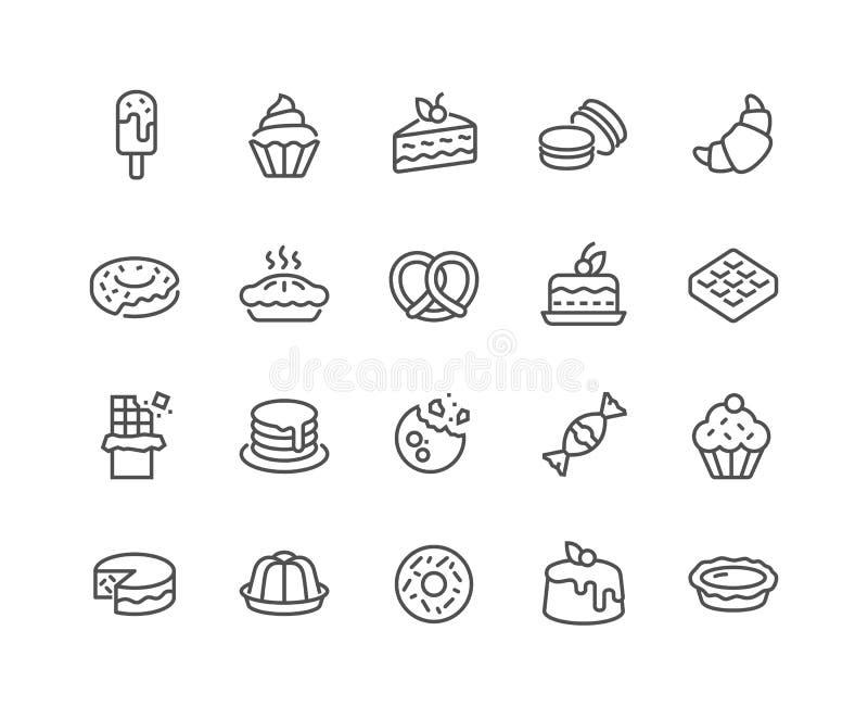 Linea icone del dessert illustrazione di stock