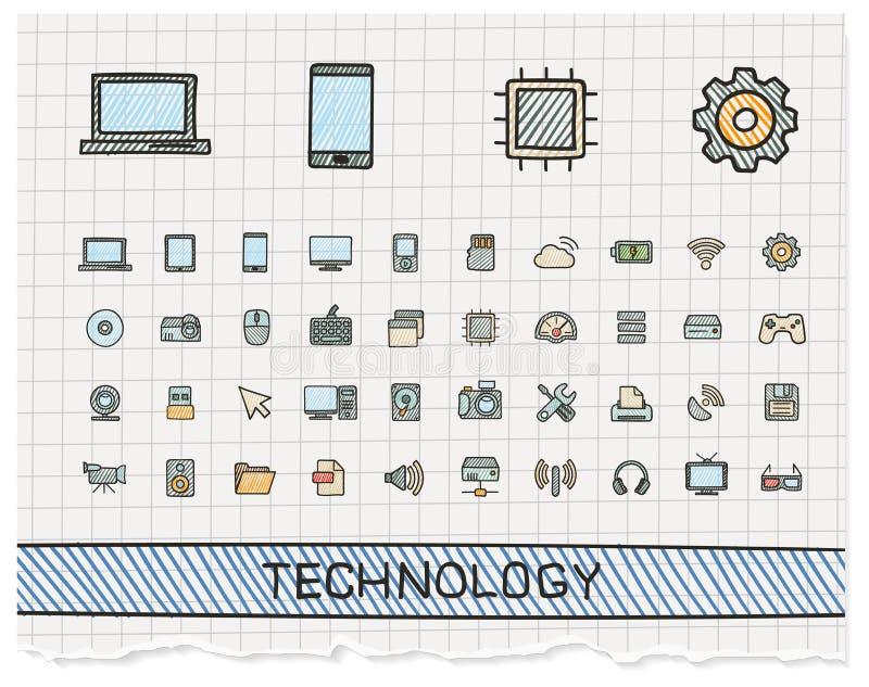 Linea icone del disegno della mano di tecnologia illustrazione vettoriale
