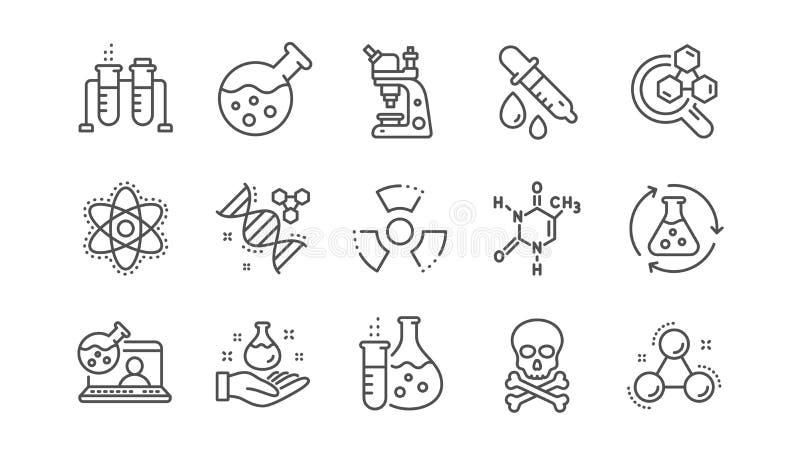Linea icone del laboratorio di chimica Formula chimica, microscopio ed analisi medica Insieme lineare Vettore illustrazione di stock